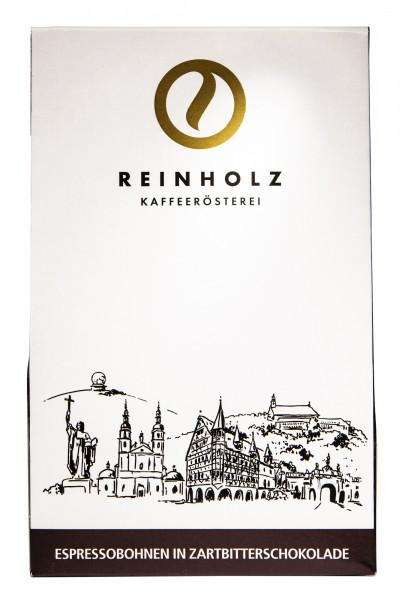 Reinholz Kaffeerösterei Espressobohnen in Zartbitterschokolade und Kakao 100g