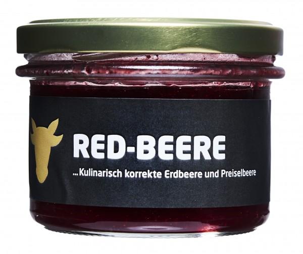 Rhöner Botschaft Erdbeerkonfitüre mit Preiselbeeren Red-Beere 200g
